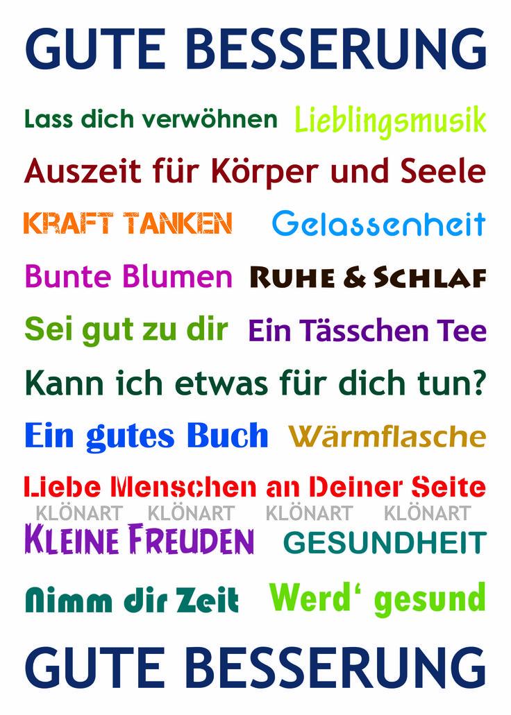 KLÖNART - Kartenkunst und mehr Postkarte  Buchstaben + Worte GUTE BESSERUNG kontakt@kloenart.de www.facebook.com/kloenart
