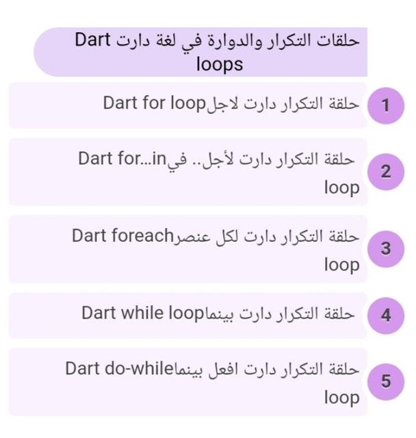 What Are Loops Used In Dart For For In Foreach While Do While ما هي وانواع حلقات التكرار والدوارة في لغة دارت Dart Loop