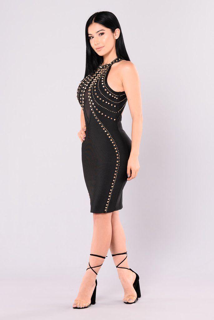 Angelina Bandage Dress - Black