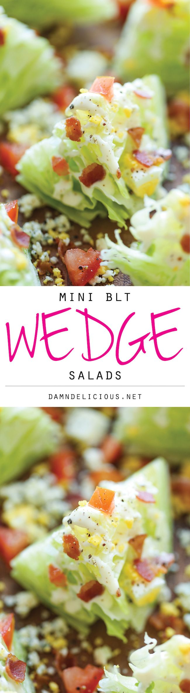 Mini BLT Wedge Salads - These mini salads with crisp bacon bits are perfect for easy serving and portion control. And miniature food always tastes better!