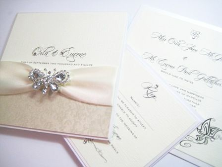 High Quality Butterfly Wedding Invitations   Gorgeous Lace Detailing With Crystal  Butterfly Detail.