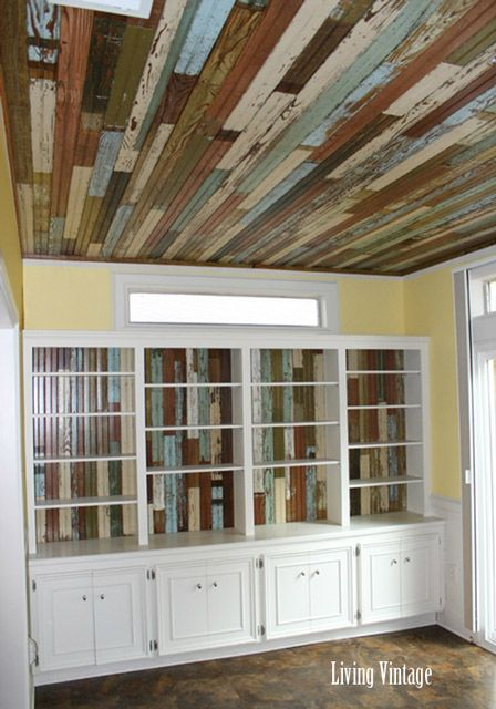 Reclaimed Beadboard Ceiling. My wife says I should collect enough old beadboard to be able to do this for her.