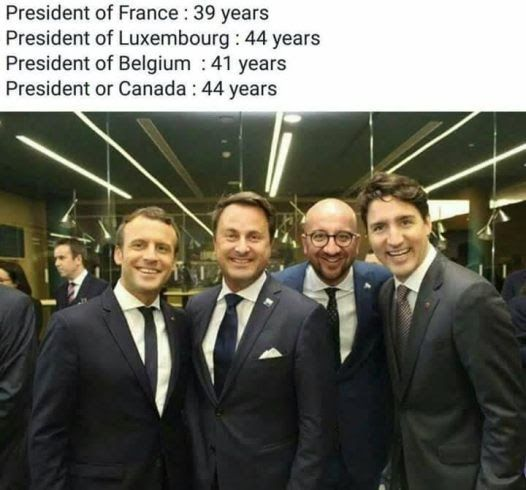From left: President of France Emmanuel Macron 39 Prime Minister of Luxembourg Xavier Bettel 44 Prime Minister of Belgium Charles Michel 41 and Prime Minister of Canada Justin Trudeau 44.  http://ift.tt/2qXCLrN news Politics