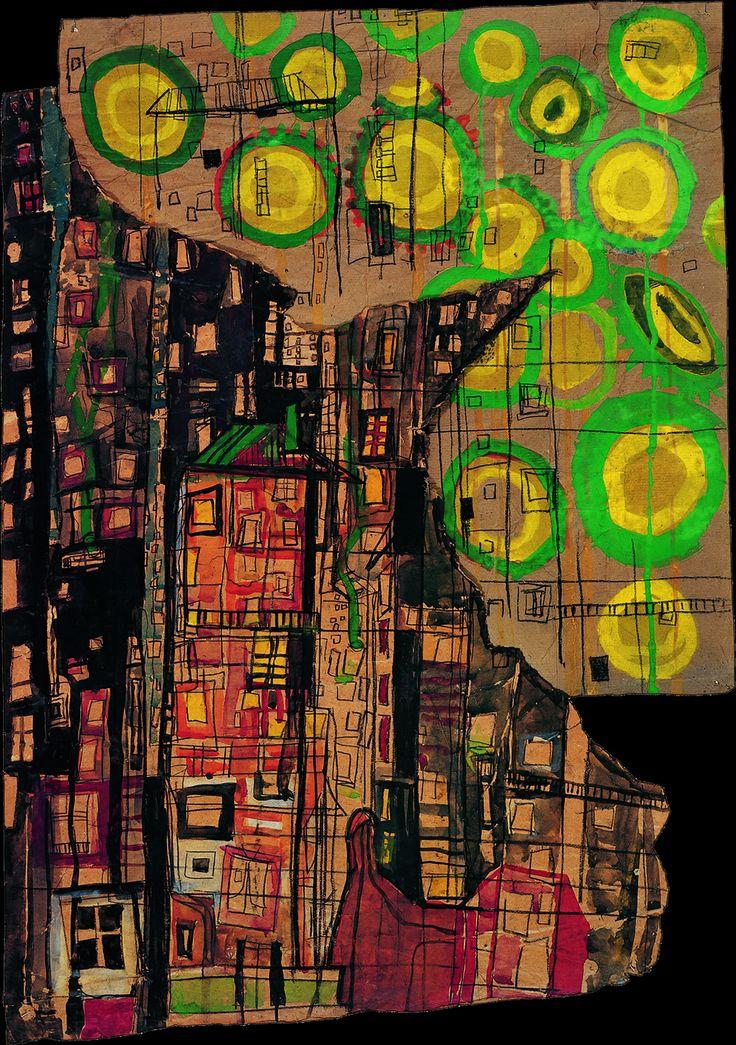 Sunflowers and the City, Watercolor, St. Mande, Seine, 1949 // Hundertwasser