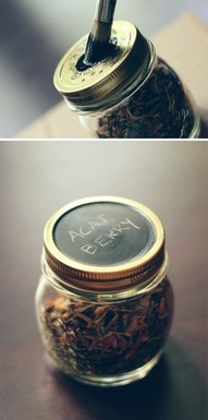 Jar lid painted with chalkboard paint for labeling.
