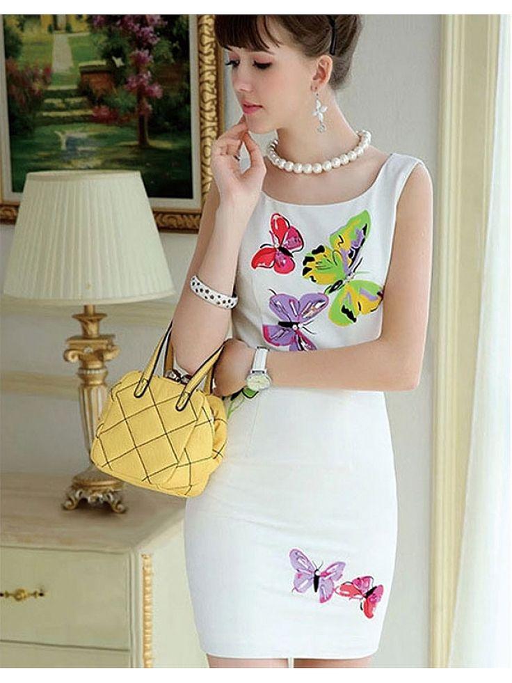 White Butterfly Print Vest Dress