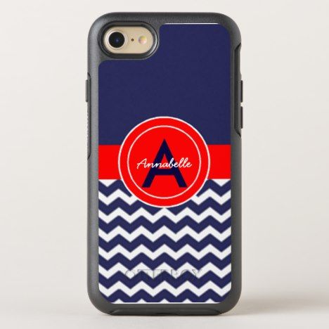 Dark Blue Red Chevron OtterBox Symmetry iPhone 8/7 Case #chevron #iphone #cases #protectiion
