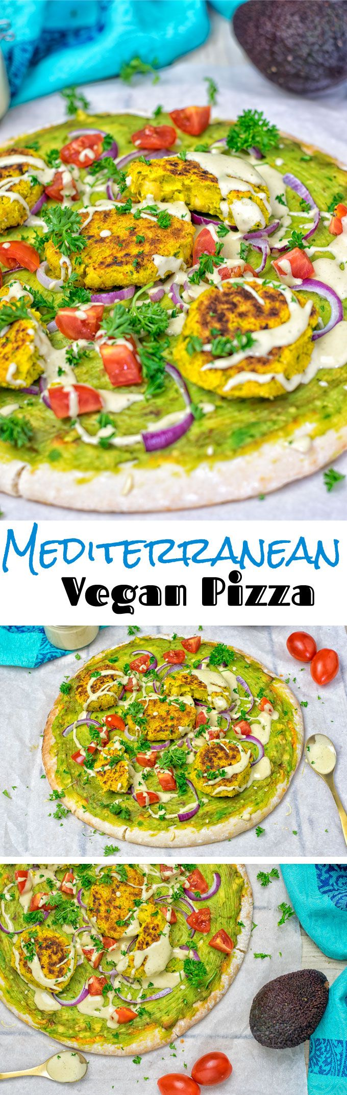 My Mediterranean Vegan Pizza comes with mashed avocado, topped with turmeric falafel. Only 6 ingredients and 3 easy steps and you are ready to enjoy your new vegan and gluten free pizza favorite at home.