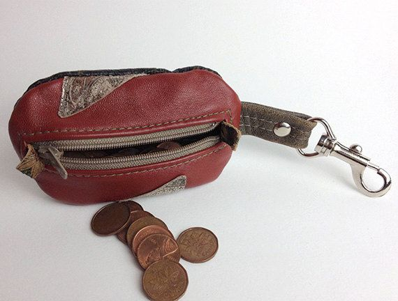 Clay & Tan Lamb leather Coin Purse with Spring Hook