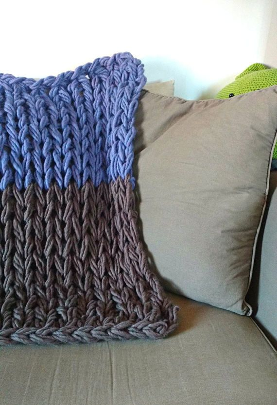 Thick Yarn Blanket. Arm knitted Baby Throw. Extra chunky bulky