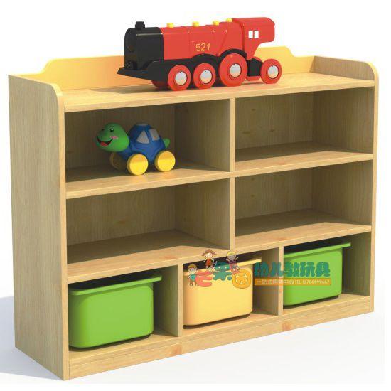 組合玩具櫃 早教幼兒園兒童儲物架收納架樟子松分類櫃六格櫃WS