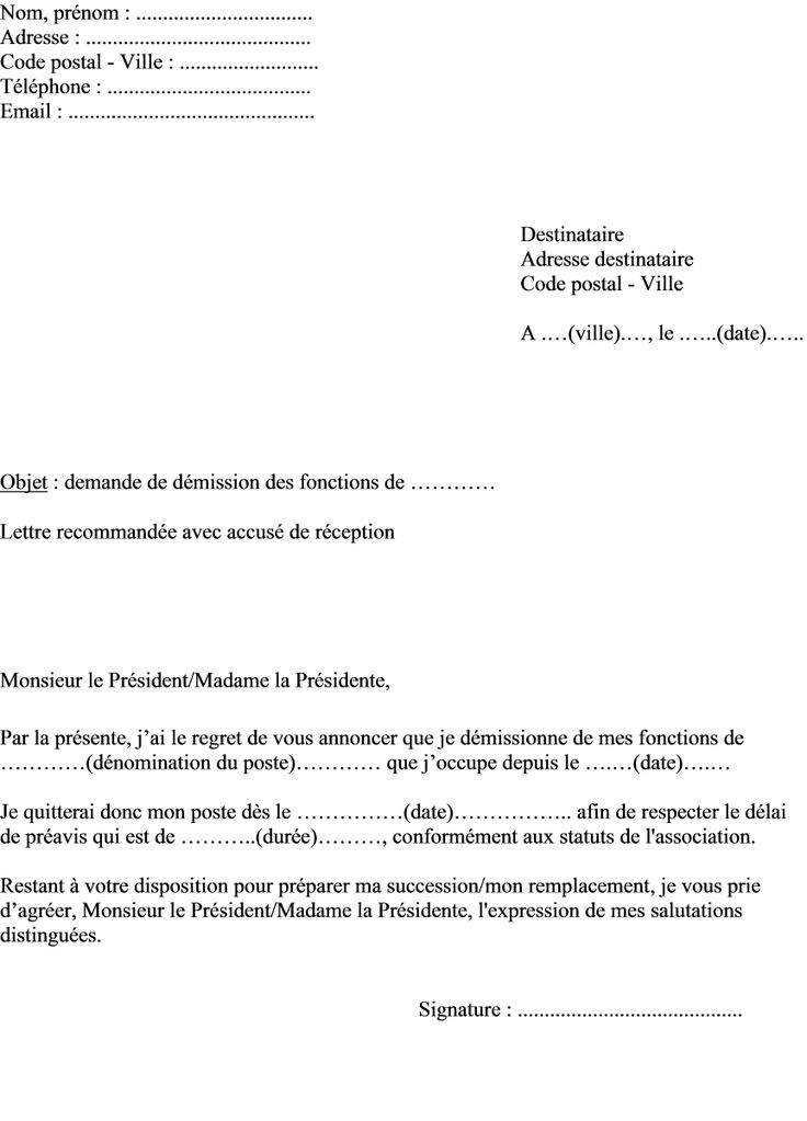 exemple de lettre d u00e9mission association loi 1901