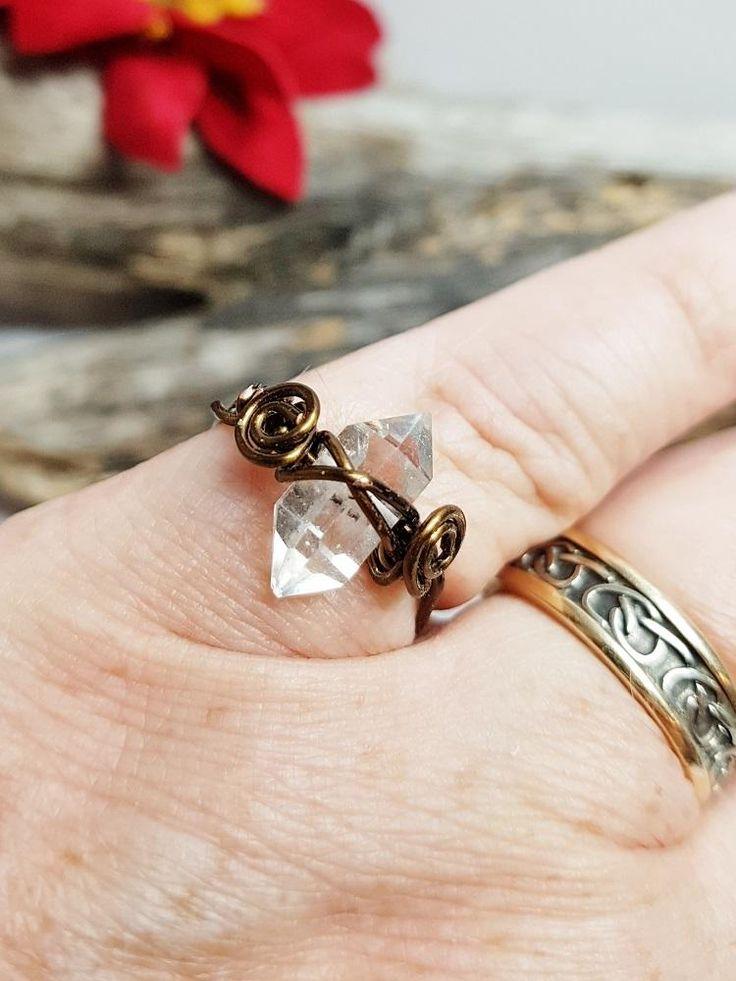 Herkimer Diamond Ring ~ Promise Ring, April Birthstone