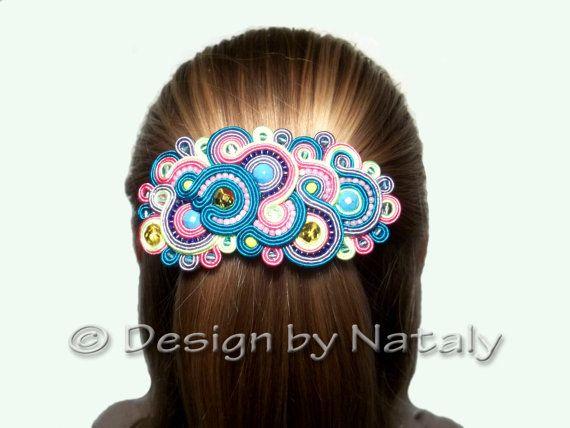 OOAK Soutache Hairgrip Barrette Clip Hair  by DesignByNataly
