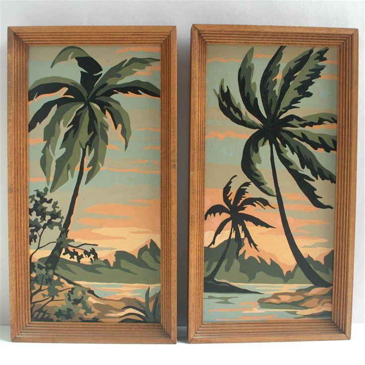 1963 Tropical Lagoon Paint by Number Pair Palm Tree Sunset Beach Tiki Hawaii | eBay