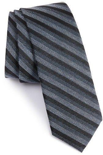Men's Calibrate Como Stripe Silk Blend Skinny Tie