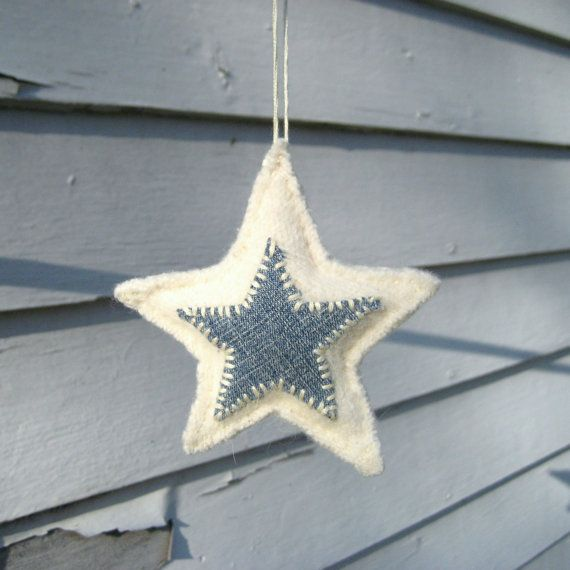 denim on felt - star ornament - étoile