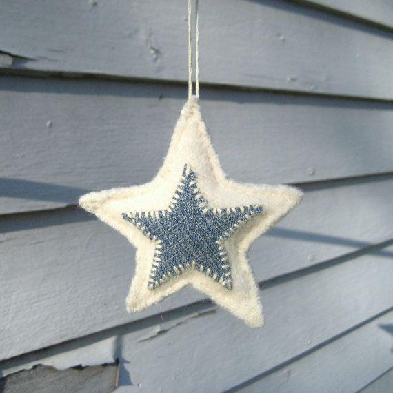 denim on felt - star ornament - étoile