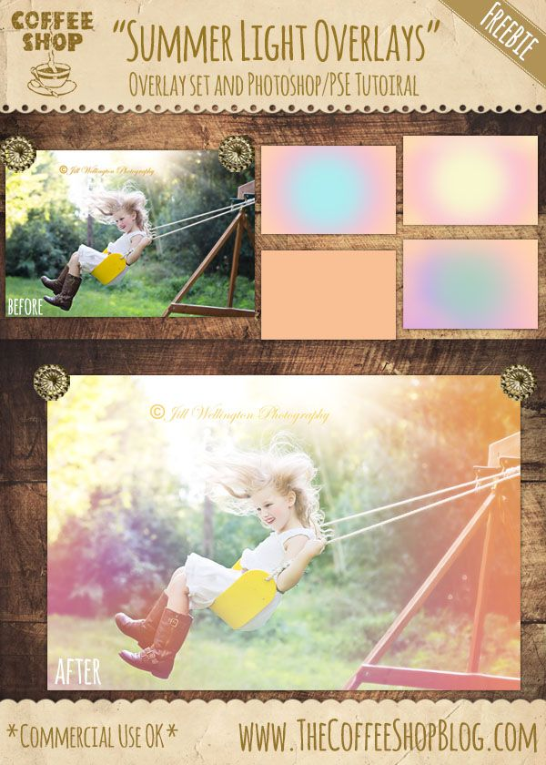 "CoffeeShop ""Summer Light Overlays"" Set! (CoffeeShop Free PS/PSE Actions!)"