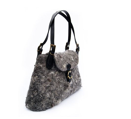 Grey Bag Grey Purse Boho Purse Wool Bag Felted by elenasfelting, $160.00