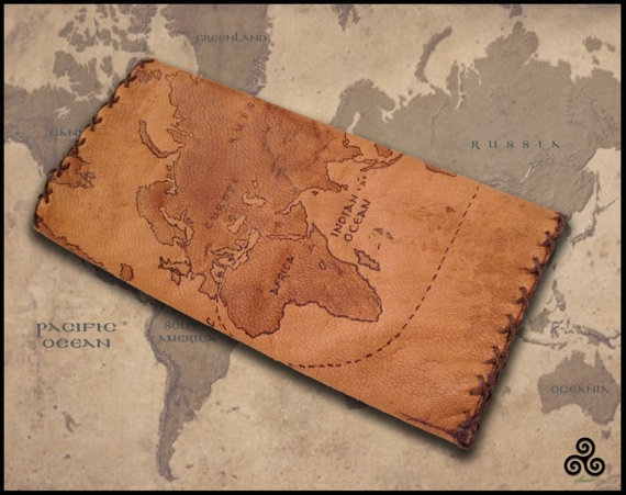 World Map leather tobacco pouch