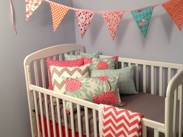 reserved listing coral and grey crib bedding