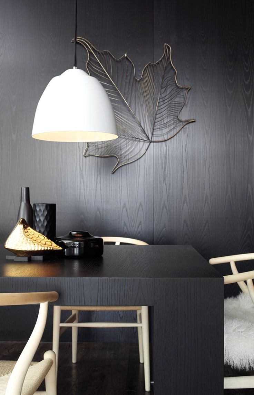 Alix White Metal Pendant Light with Black Flex
