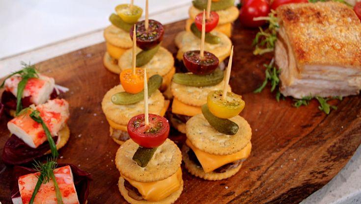 Chef, Randy Feltis turns the simple Ritz Crackers into mini double smoked bacon cheeseburgers.