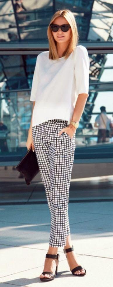 white shirt/checked pants/black sandal-shoe/black bag