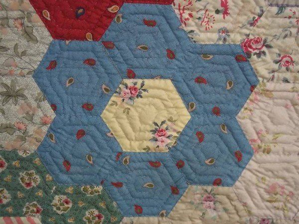 Grandmother 39 S Garden Quilt Detail Of Hexagon Patches Showing Souleiado And Laura Ashley Fabrics