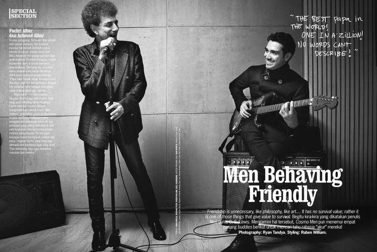 Fachri Albar and his dad, Achmad Albar, on Cosmopolitan Men III/2013.  Photographer: Ryan Tandya. Stylist: Ruben William. Makeup & Hair: Rendi. Location: Sinjitos Studio.