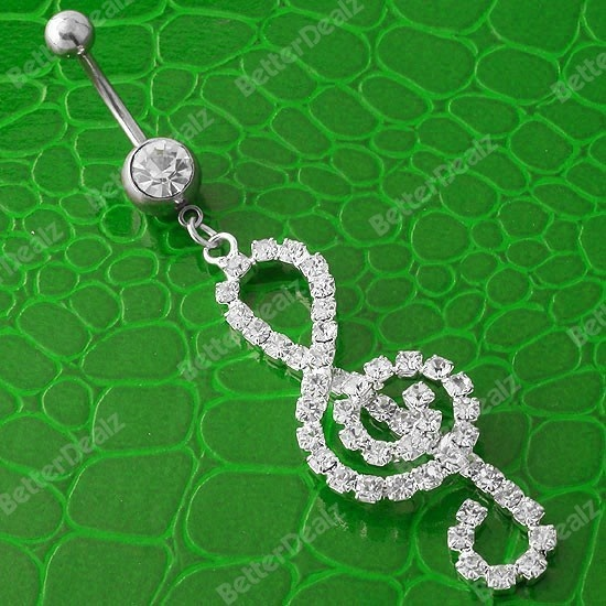 14ga Czech CZ Crystal Musical Note Belly Navel Ring