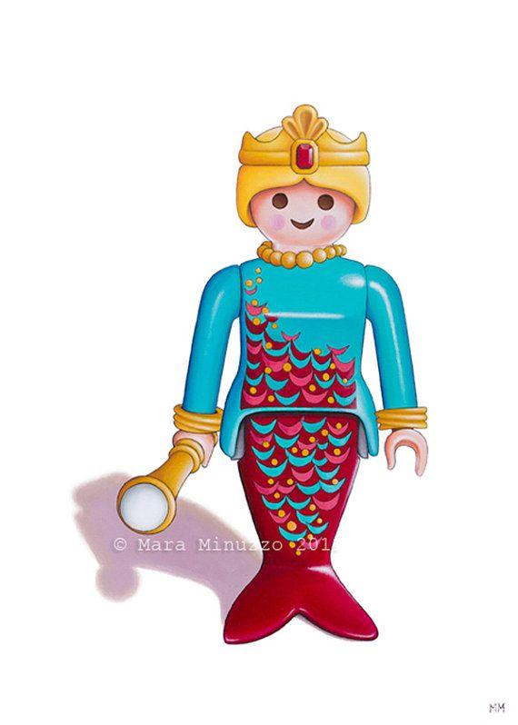 Mermaid Toy Art 5 x 7 Fine Art Giclee Print, Playmobil art