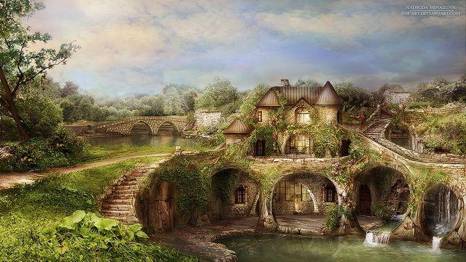 Fantasy landscape The Lake House  - Russian Artist Nadegda Mihailova