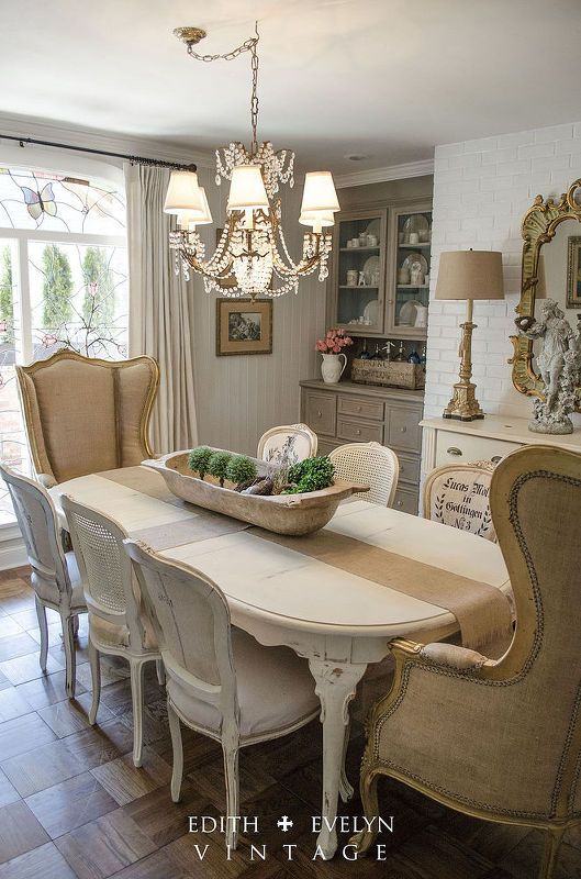 dining room renovation in a 1970s french country ranch - Country Dining Room Pictures