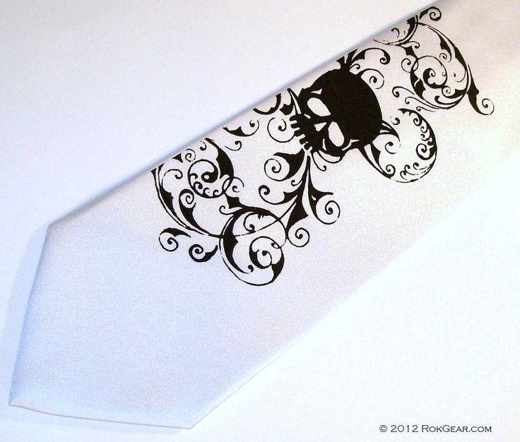 White Skull wedding tie, mens white tie RokGear silk screen neckties. $25.00, via Etsy.