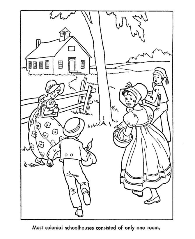 USA-Printables: Early American Children Coloring Pages