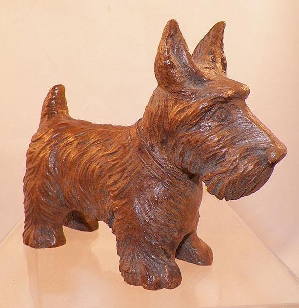 Vintage Carved Syroco Wood Scottie Dog Figurine Coats