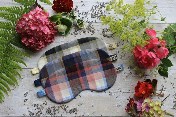 Plaid sleep mask by RENIQLO on Etsy
