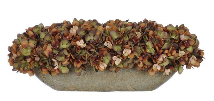 Artificial Hydrangea in Oval Ceramic Pot