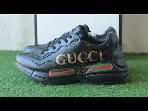 Top Replica GUCCI RHYTON SNEAKER BLACK +UNBOXING REVIEW FROM