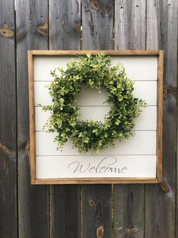 Shiplap sign, shiplap decor, shiplap hanging sign, welcome sign, welcome wreath, boxwood decor, boxwood sign, boxwood, shiplap wall decor