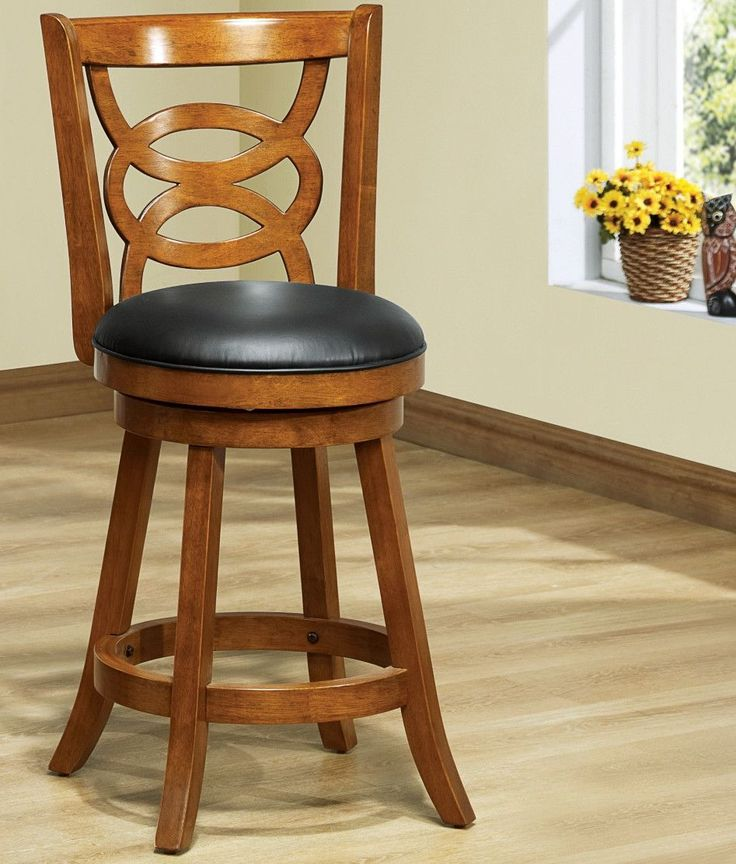 Buy Dark Oak Solid Wood 39 Quot H Swivel Counter Stool Set Of