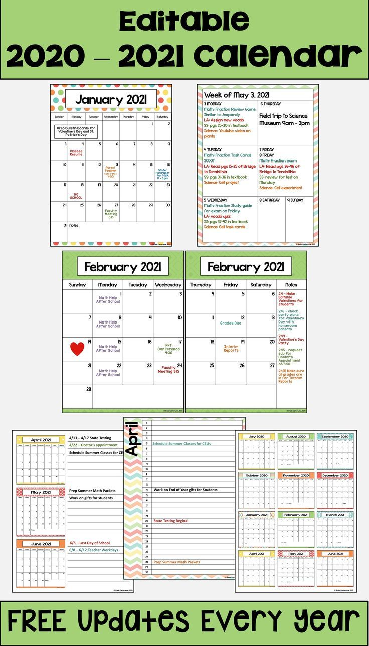 2020 2021 Calendar Printable And Editable With Free Updates In Pastel Colors In 2020 School Calendar 2021 Calendar Editable Calendar