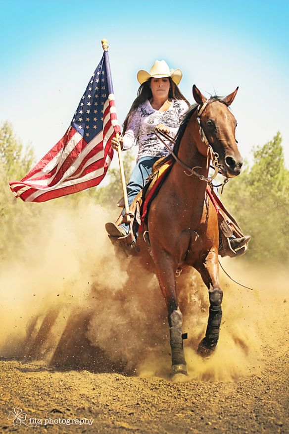 Reiner with American Flag Senior Pictures girl and her horse