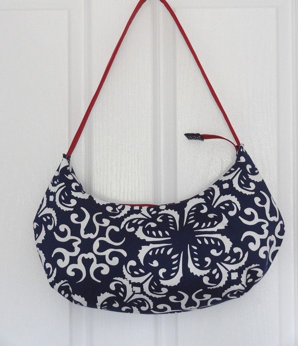 Blue & White Mosaic Sateen Hobo Handbag - by OneBusySloth on madeit