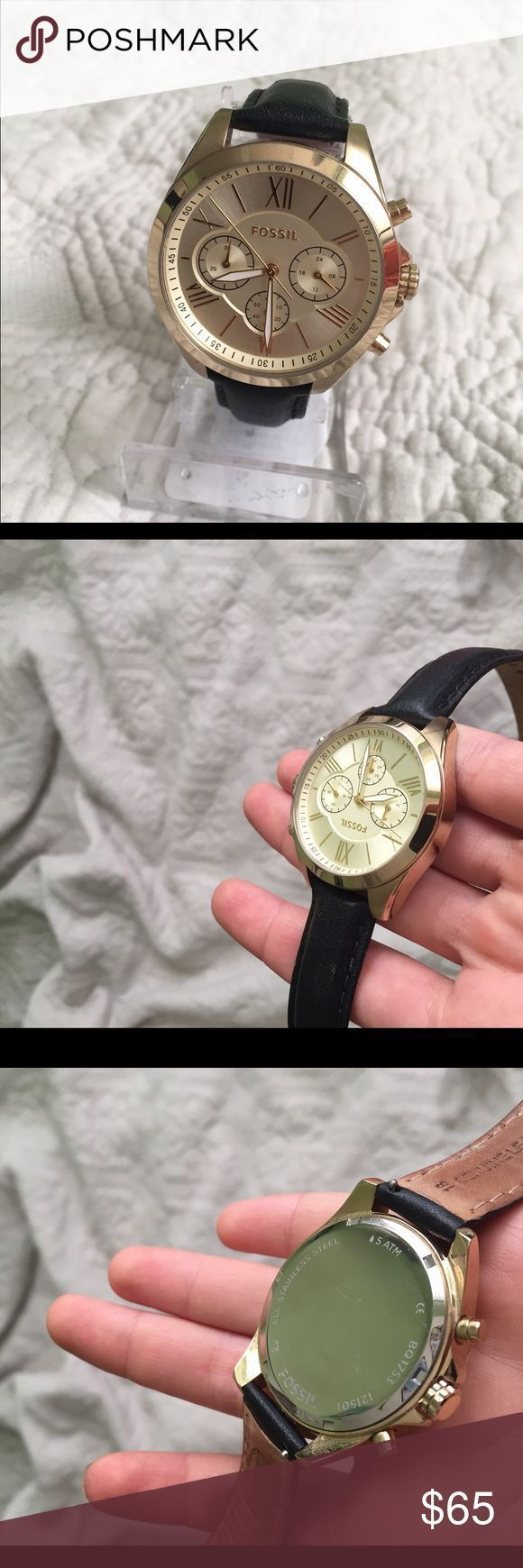 Montre pour femme : Fossil gold watch black leather band boyfriend Fossil women's watch gold and