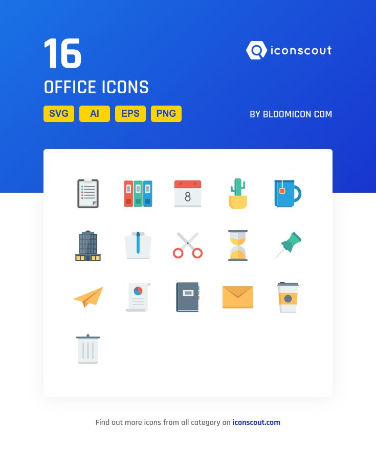 Office  Icon Pack - 16 Flat Icons
