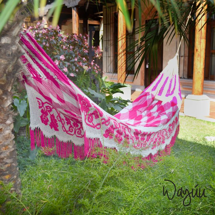 ⇟⇟Wayuu Hammock Trinitaria ⇟⇟ This hammock was inspired by the vibrant colour of Caribbean popular flower. Fuchsia is the prominent colour of this hammock, and is tailored for the female connoisseur.  Your Trinitaria chinchorro will rock you to sleep. Don't fight it. The skirt (bottom section) is a series of detailed patterns drawn together by a crochet technique, and its colors will last a lifetime. One hammock takes up to seven months to craft, this is a traditional piece of indigenous…