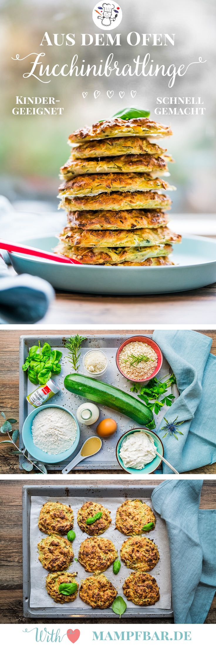 Wir finden die Zucchini Bratlinge sind ein klasse Familienessen - super schnell gemacht und noch ein bisschen Gemüse mit rein geschmuggelt ;-). Für mehr leckere Kinderrezepte, besucht uns doch mal auf mampfbar.de